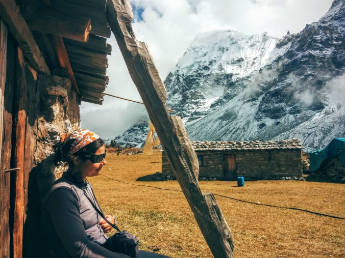 Alba enjoying the sun in Lhonak.