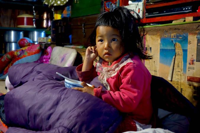Cute little Sherpa girl living in Ghunsa.