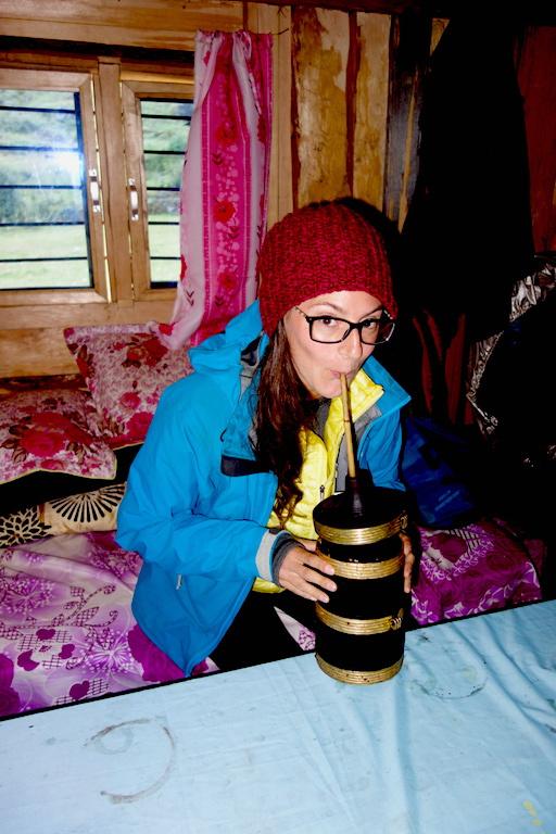 Me drinking Tongba at Gyabla