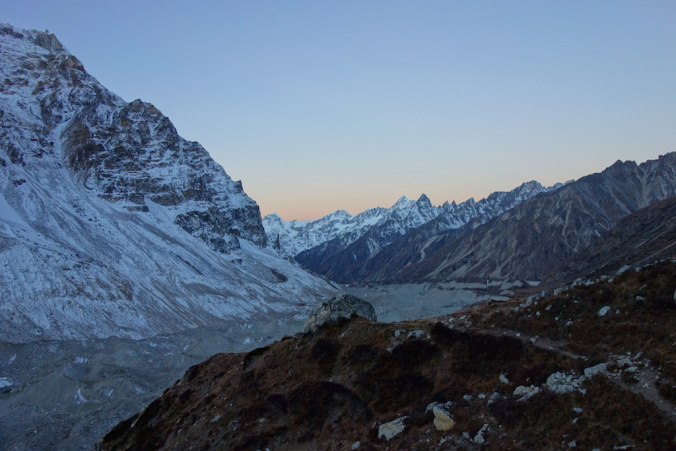 Sunrise hours on the way to North Base Camp.