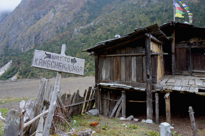 signboard on the way to kanchenjunga Ghunsa