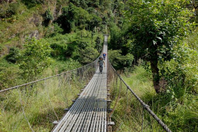suspension bridge tamo nadi river valley