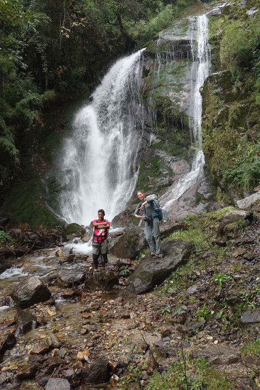waterfall during kanchenjunga trek